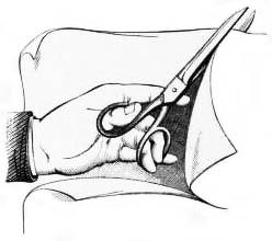 Hand schneidet mit Schere