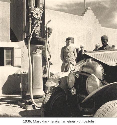sw Foto: Tanken an einer Pumpsäule - 1936, Marokko
