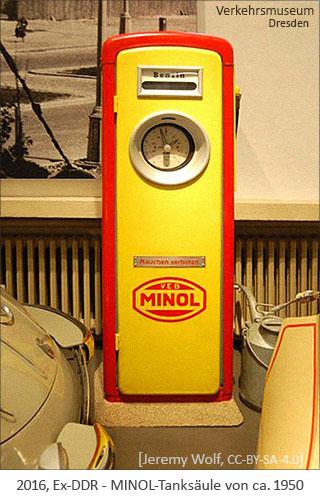 Farbfoto: MINOL-Tanksäule von ca.1950 - 2016, Dresden