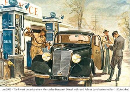 Farblitho: Tankwart betankt einen Mercedes während Fahrer Landkarte studiert ~1950