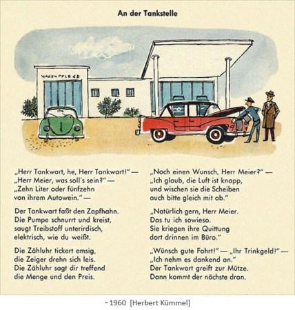 illustriertes Gedicht: An der Tankstelle ~1960