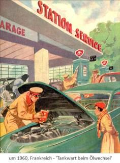 Farblitho: Tankwart beim Ölwechsel ~1960, Frankreich