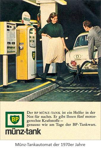 Farbfoto: Münz-Tankautomat der 1970er