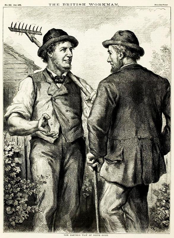 Gärtner mit Harke unterhält sich mit Vorbeikommendem