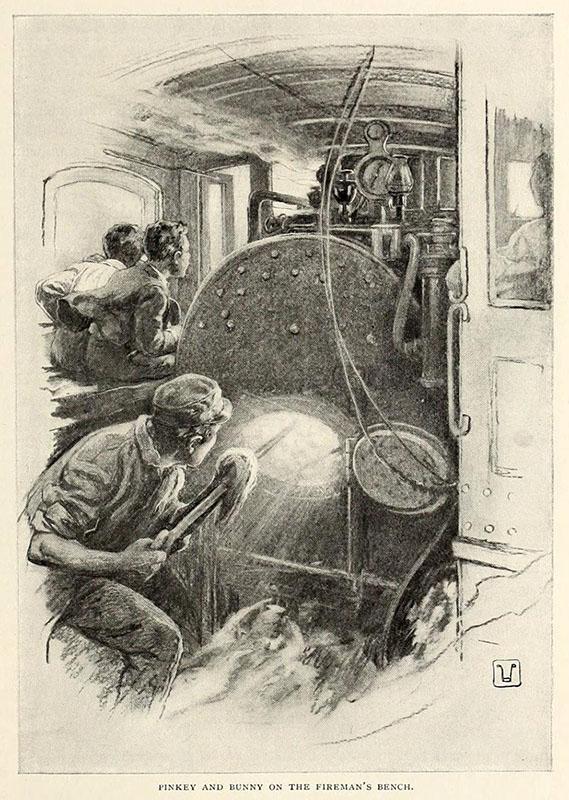 Buchillustration: Heizer heizt ein