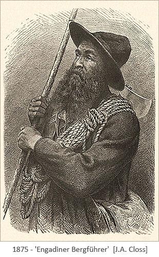 Kupferstich: Portrait eines Bergführers aus dem Engadin - 1875, Schweiz