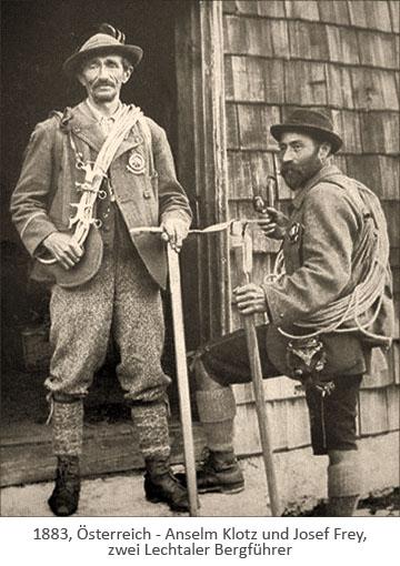 sw Foto: die Lechtaler Bergführer Anselm Klotz und Josef Frey - 1885, Österreich
