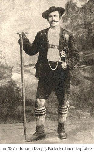 sw Foto: der Partenkirchner Bergführer Johann Dengg ~1875