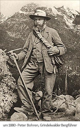 sw Foto: der Grindelwalder Bergführer Peter Bohren ~1880