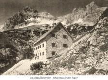sw Foto: Schutzhaus in den Alpen ~1910, Österreich
