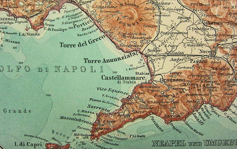 Alte, farbige Landkarte