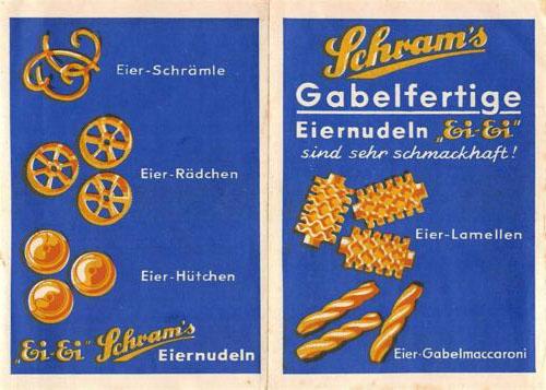 alte Werbung für Nudeln