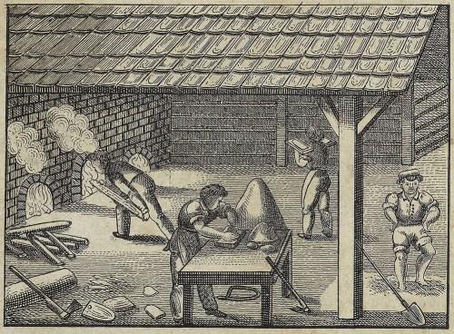 alter Stich: vier Männer arbeiten in einer Ziegelei