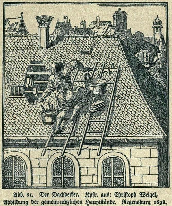 Kupferstich: Männer decken Dach