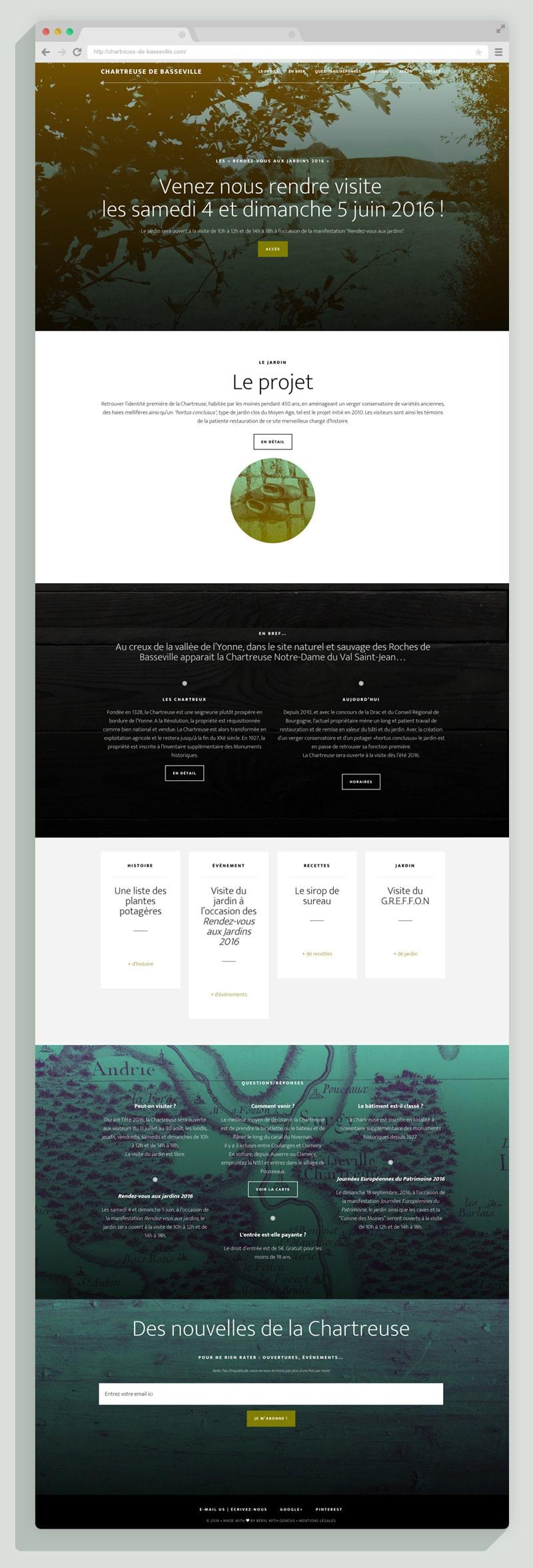 Site responsive Wordpress de la Chartreuse de Basseville par Béryl de La Grandière, design graphique.