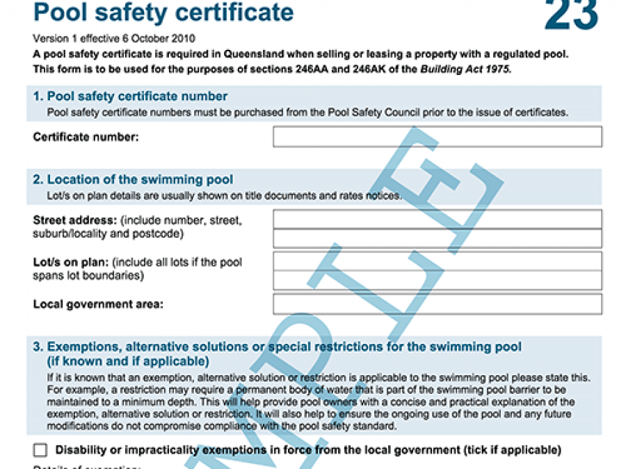 Pool Safety Certificate
