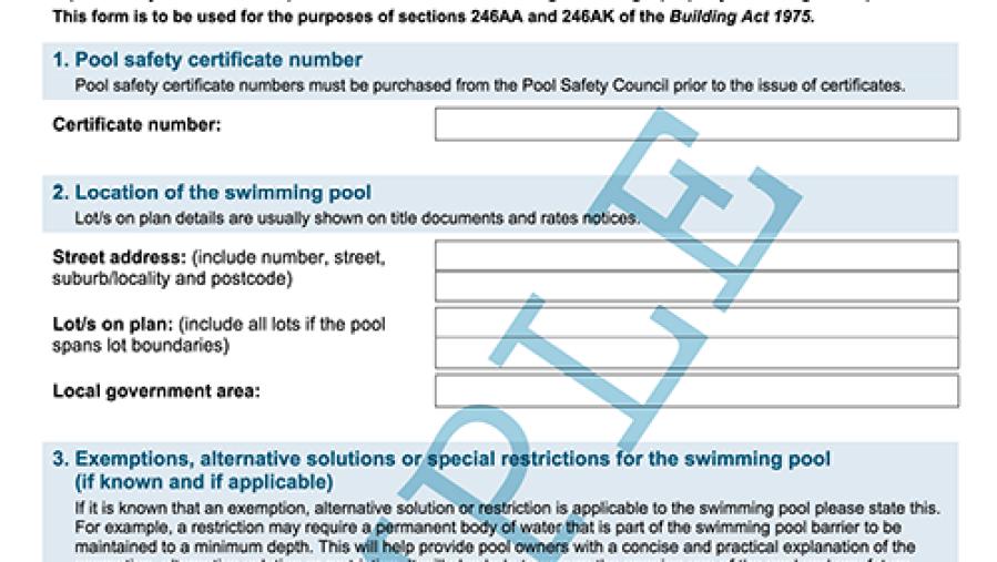 Pool Certificate