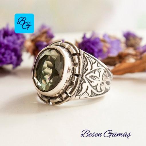 Yeşil Ametist Taşlı Erkek Gümüş Yüzük