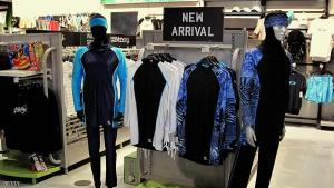 The Islamic full-length swimming suit known as Burqini is displayed on mannequins at a sports store in Dubai on August 23, 2009. The three-piece lycra and polyester bodysuit that covers all of the body and the hair is sold for 419 Dirhams (80 Euros) (114 USD). A French woman who converted to Islam, was kicked out from a Paris swimming pool earlier this month for wearing the Burqini she bought during a trip to Dubai. AFP PHOTO/MARWAN NAAMANI (Photo credit should read MARWAN NAAMANI/AFP/Getty Images)
