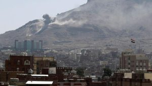 Smoke billows following an air-strike by the Saudi-led coalition targeting an arms depot on the Nuqom mountain overlooking in the Yemeni capital Sanaa on October 15, 2015. AFP PHOTO / MOHAMMED HUWAIS        (Photo credit should read MOHAMMED HUWAIS/AFP/Getty Images)