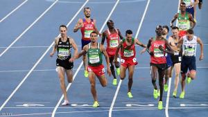 Kenya's Helah Jelagat Kiprop (frontR) crosses the finish line ahead of Algeria's Taoufik Makhloufi (C, L) and New Zealand's Nicholas Willis (L) after they competed in the Men's 1500m Semifinal during the athletics event at the Rio 2016 Olympic Games at the Olympic Stadium in Rio de Janeiro on August 18, 2016.   / AFP / PEDRO UGARTE        (Photo credit should read PEDRO UGARTE/AFP/Getty Images)