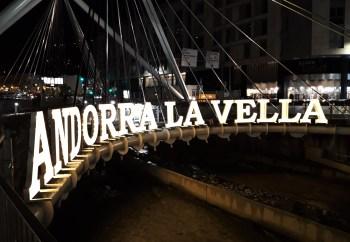 Andorra La Vella, Andorra– October 27, 2018: Sign upon Paris Bridge on La Valira River in Andorra La Vella.