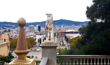 Barcelona, Spain – October 26, 2019: View of Plaça Espanya and Avinguda de la Reina Maria Cristina from Palau Nacional de Barcelona, the building where MNAC (Museu Nacional d'Art de Catalunya) is located.