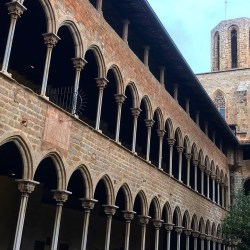 Barcelona, Spain – January 29, 2020: Cloister of Pedralbes Monastery