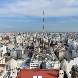 Buenos Aires, Argentina – September 10, 2019: Panorama from the top lighthouse of Palacio Barolo.