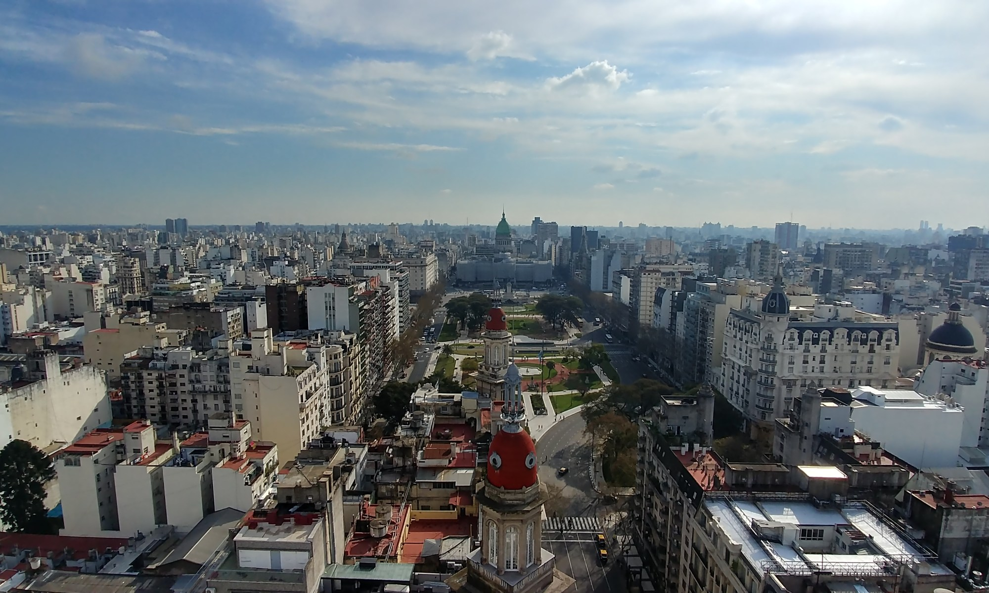 Buenos Aires, Argentina – September 10, 2019: Panorama from Salon 1923, rooftop bar on the 16th floor of the historic Palacio Barolo building.