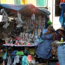 La Paz, Bolivia – August 19, 2013: Street sellers in La Paz.