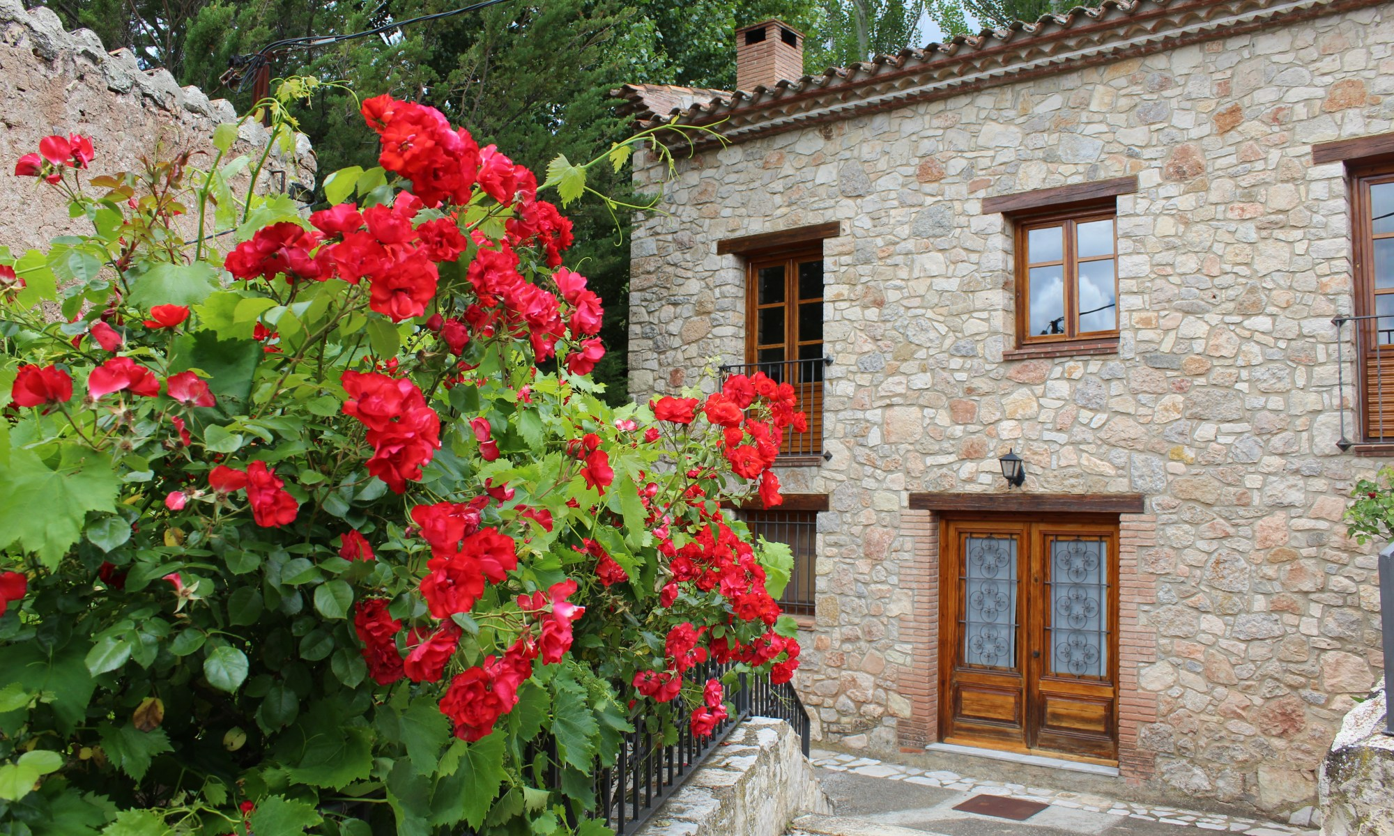 Beautiful stone house with red roses in Farena