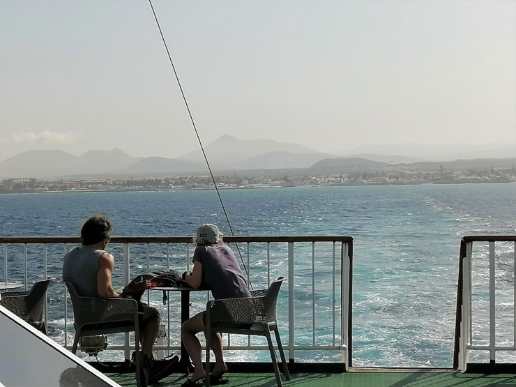 A couple enjoying Fuerteventura view from the ferry