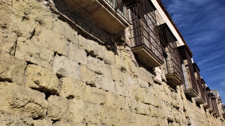 Roman itinerary in Tarragona. Houses on the Roman walls in Tarragona