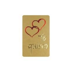 Pegatina Te quiero corazones oro de 35x23 mm.
