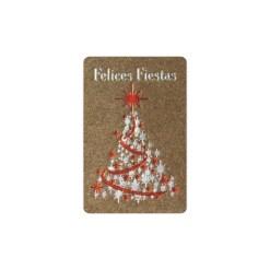 Etiqueta adhesiva Felices Fiestas con árbol de navidad
