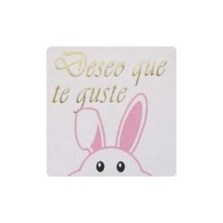 Deseo que te guste pegatina conejo rosa asomando