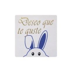Deseo que te guste pegatina conejo azul asomando