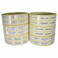 Etiqueta pegatina joyería en blanco brillo de 9x20 mm