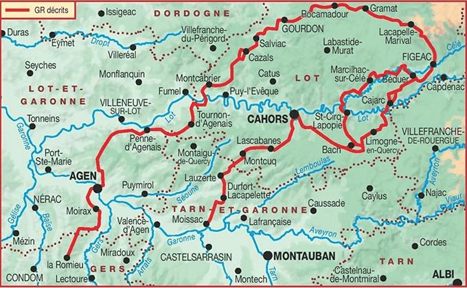 Carte GR 65 chemin de Compostelle Figeac