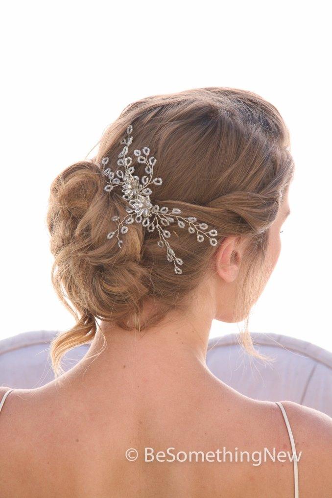 spray of beads wedding hair comb, wedding headpiece, beaded bridal comb rhinestone and crystal hair accessory