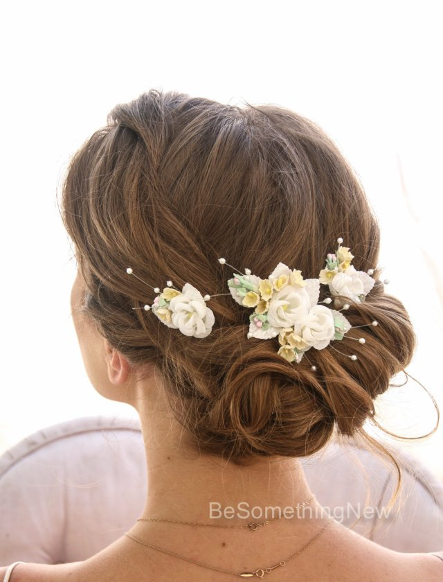 wedding hair bobby pin set of vintage flowers ivory and yellow wedding hair accessory, flower bobby pins vintage flower wedding hair clips