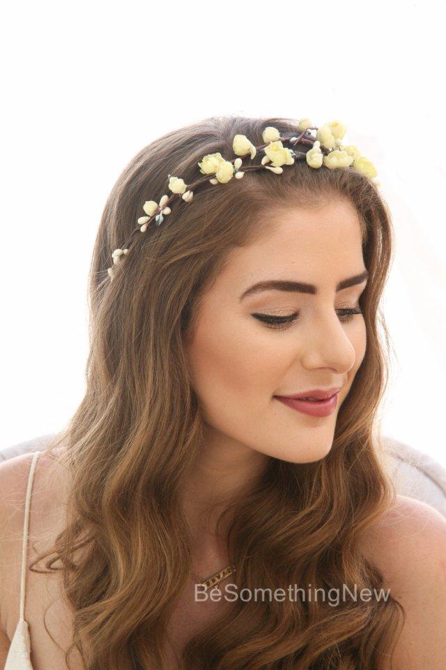 yellow flower crown, vintage floral headband boho wedding headpiece of vintage flowers