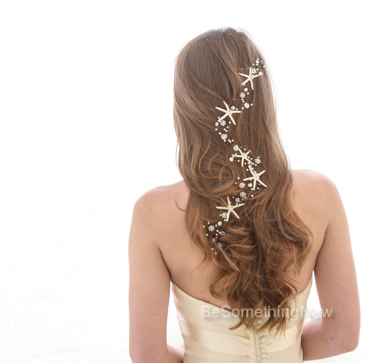 Extra Long Starfish Wedding Hair Vine Beaded Bridal