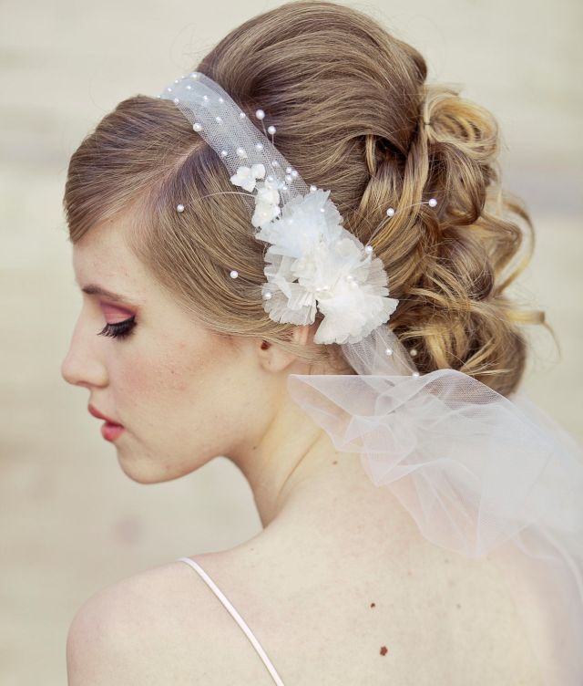 wedding veil tie headband of net and vintage flowers, bridal veil flower headband wedding hair accessory