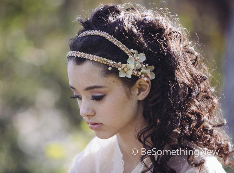 Bridal Headpeice Beaded Double Tie Blush Wedding Headband