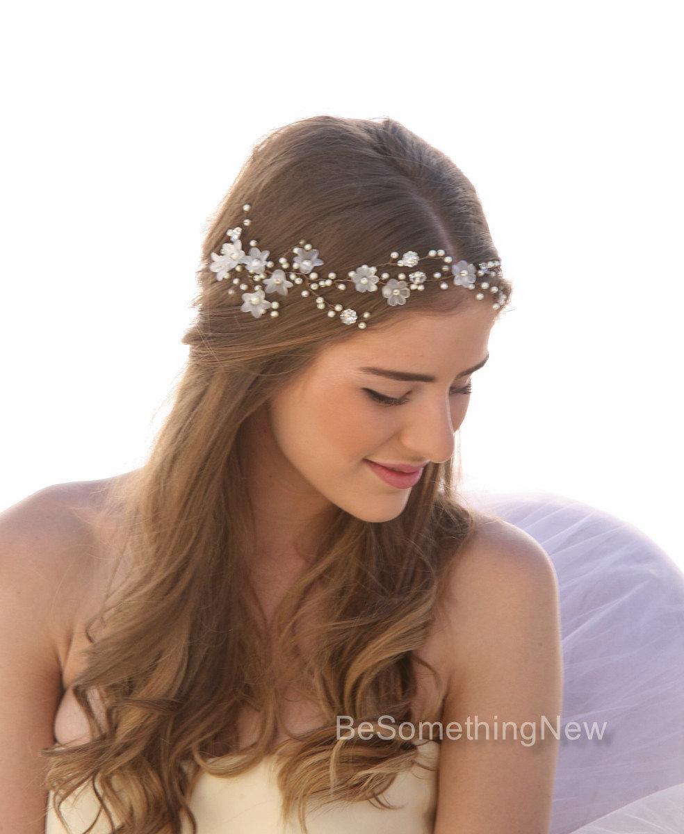 Wedding Hair Vine Of Vintage Flowers Pearls And