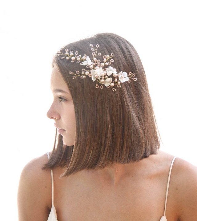 rose gold wedding headpiece with ivory flowers and wired crystals and pearls
