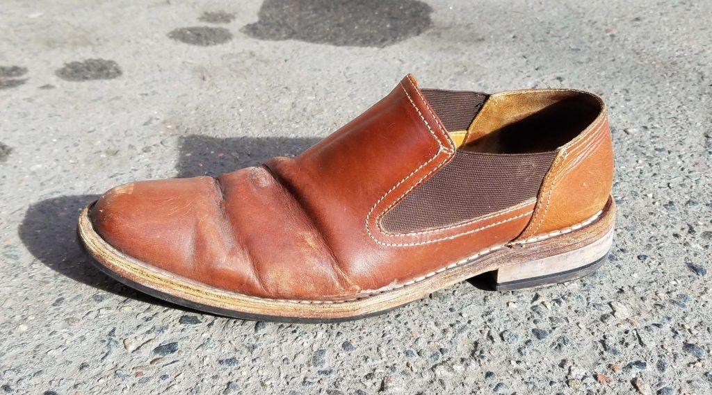 before my shoe shine