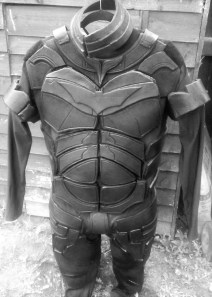 Custom-made Batman, foam armoured costume in progress. Image of copyright of Bespoke Fantasy Costume, 2016.